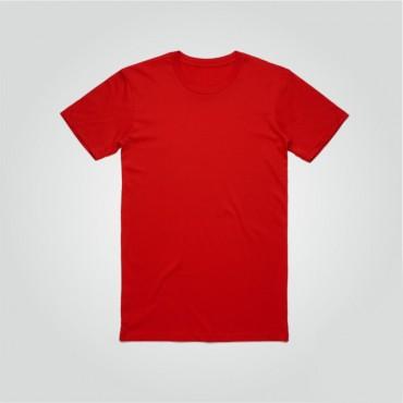Kırmızı Sıfır Yaka Tişört Baskı