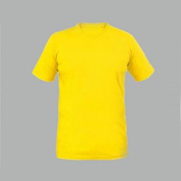 Sarı Sıfır Yaka Tişört Baskı