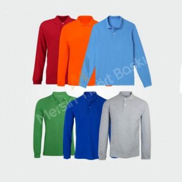 Uzun Kollu  Polo Yaka Tişört Baskı